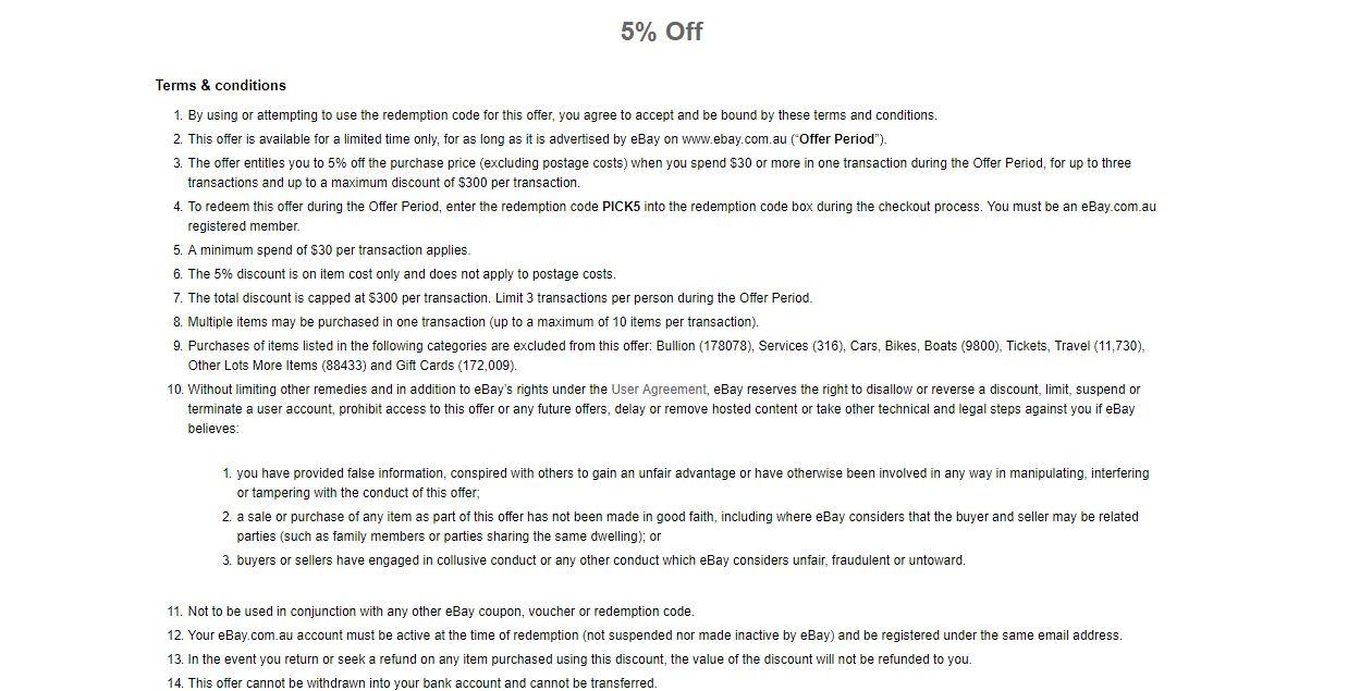 5 Off Sitewide Min Spend 30 Code Pick5 Ebay